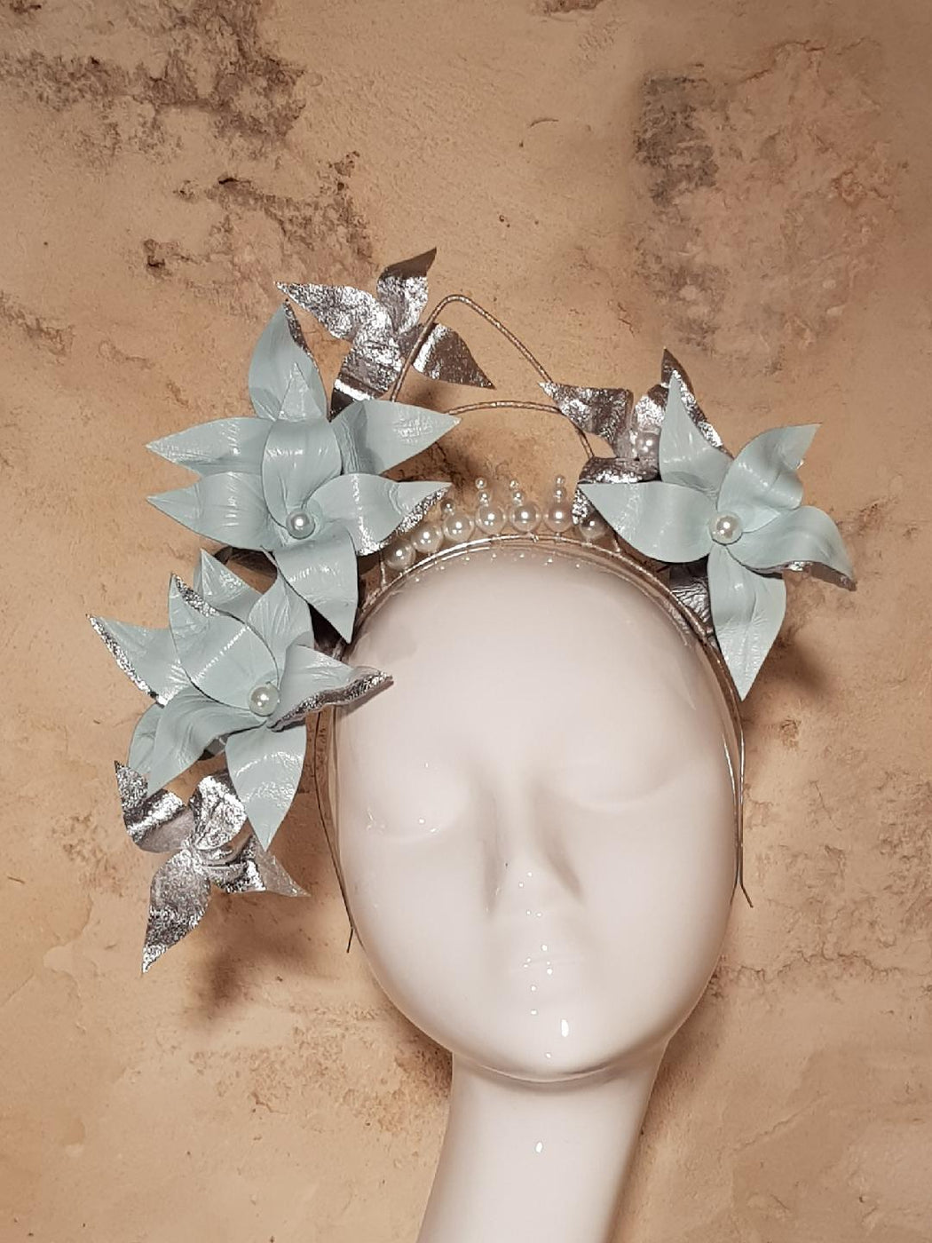 Pale blue and silver floral crown this fine day australia pale blue and silver floral crown izmirmasajfo