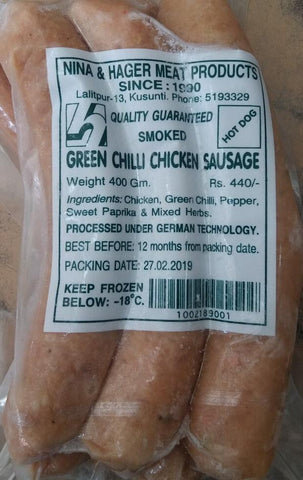 Nina & Hager Hot Dog Chicken Sausage (Green Chilli) - 400 gm
