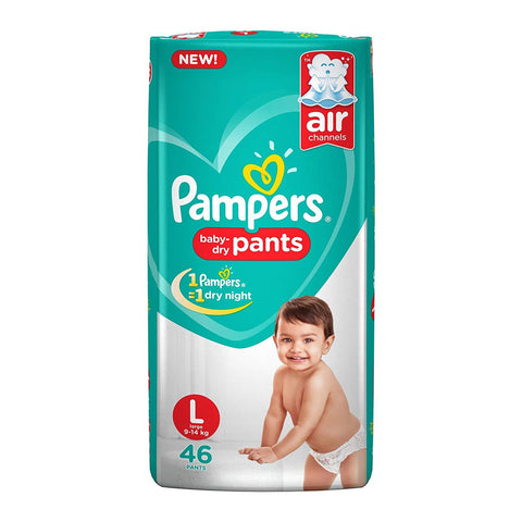 Pampers New Diapers Pants, Large (46 Count)