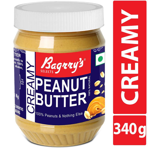 Bagrry's Creamy Peanut Butter, 340 GM, Sugar Free