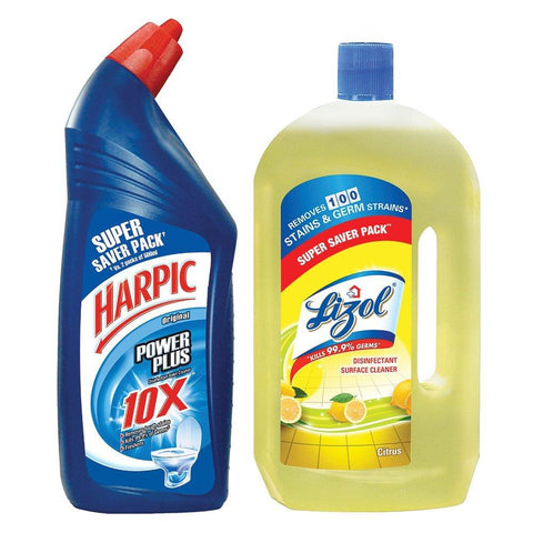 Lizol Floor Cleaner Citrus- 975 ml with Free Harpic-200 ml