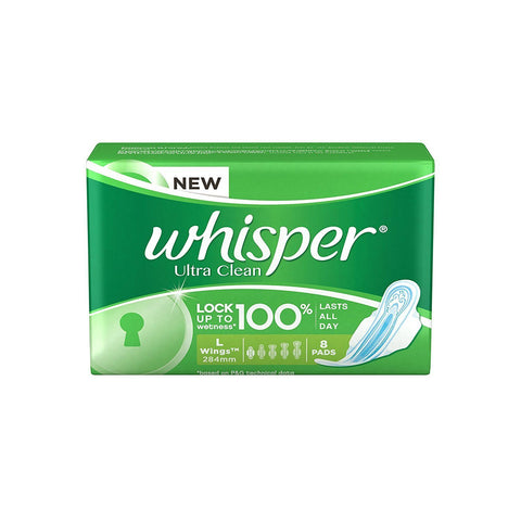 Whisper Ultra Clean L Wings 8pads - Kirana - Online Shopping Nepal