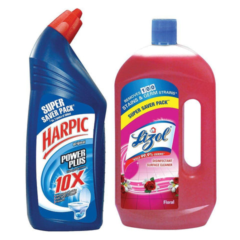 Lizol Floor Cleaner Floral- 975 ml with Free Harpic-200 ml - Kirana - Online Shopping Nepal