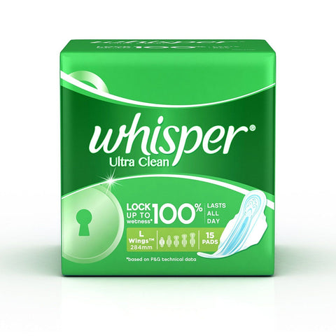 Whisper Ultra Clean L Wings 15pads - Kirana - Online Shopping Nepal