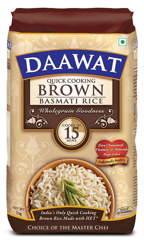 Daawat Brown Basmati Rice, 1kg, Poly Pouch