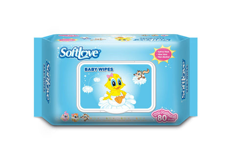 SOFTLOVE BABY WET WIPES 80 PCS UNSCENTED - Kirana - Online Shopping Nepal