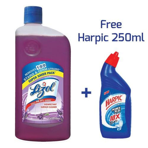 Lizol Floor Cleaner Lavender- 975 ml with Free Harpic-200 ml