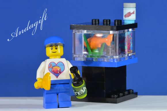 LEGO large aquarium fish tank minifigure fish food custom set - andagift