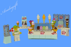 LEGO food ice cream parlour shop ice cream cake with minifigure sign NEW custom - andagift