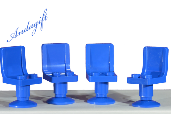 LEGO 4 NEW blue chairs / seats with blue pedestals. - andagift