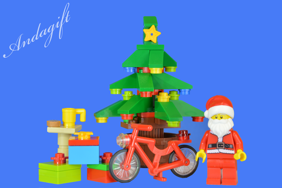 LEGO SANTA and CHRISTMAS TREE lego red bicycle bike - andagift
