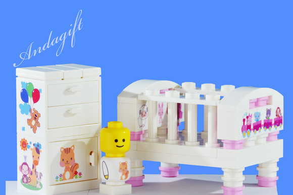 LEGO pink small cot and cupboard christening wedding topper baby shower - andagift