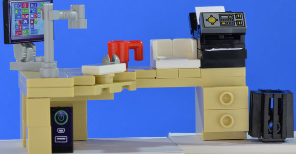 LEGO office corner desk set with computer and printer - andagift