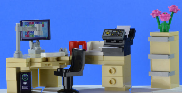 LEGO office corner desk set with computer and printer and filing cabinet - andagift