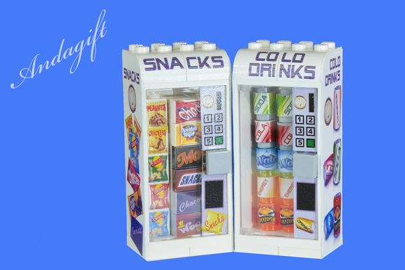 LEGO drinks and snack vending machines food ideal for a train station shop - andagift