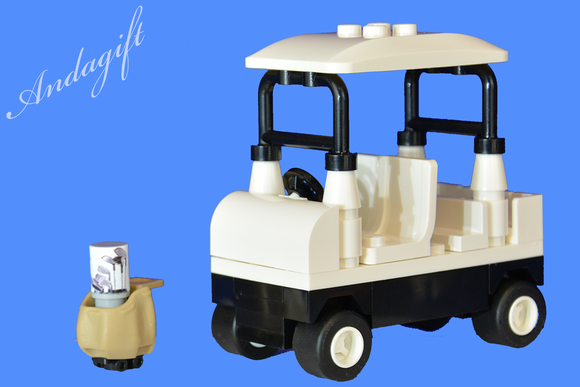 LEGO golf buggy cart car and golf bag custom set - andagift