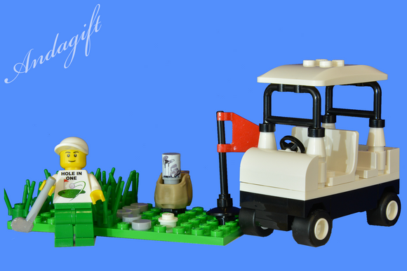 LEGO golf buggy cart car golfing minifigure and golf club custom set - andagift