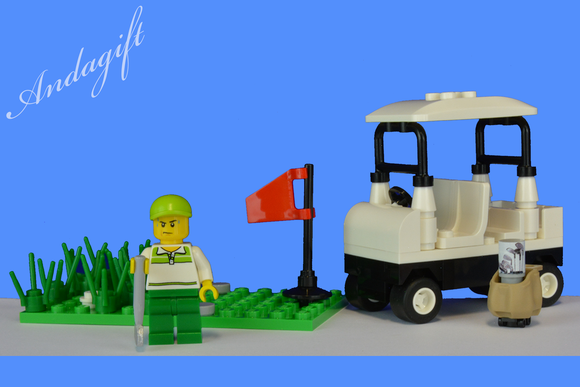 LEGO golf buggy cart car minifigure and golf club golfing scene - andagift