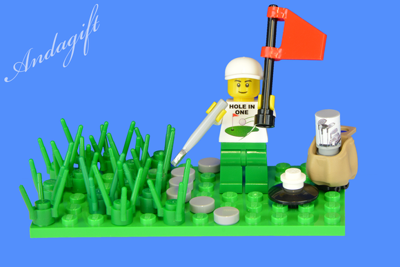 LEGO golf scene with golfing minifigure and golf club hole in one - andagift
