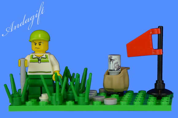 LEGO golf minifigure and golf club golfing scene stuck in the rough - andagift