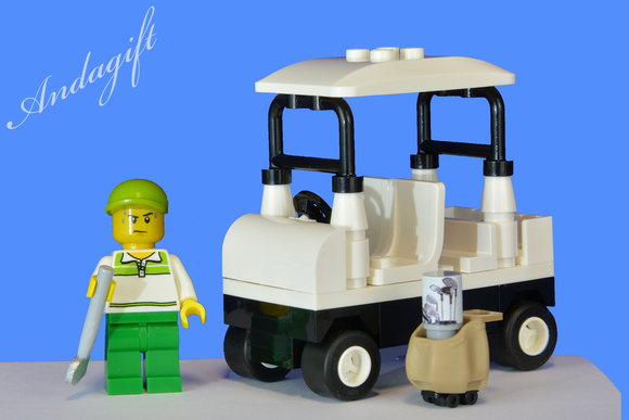 LEGO golf buggy cart car golfing minifigure, golf bag and golf club custom set - andagift