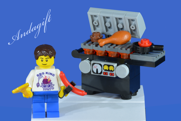 LEGO large BBQ  with custom lego minifigure - andagift