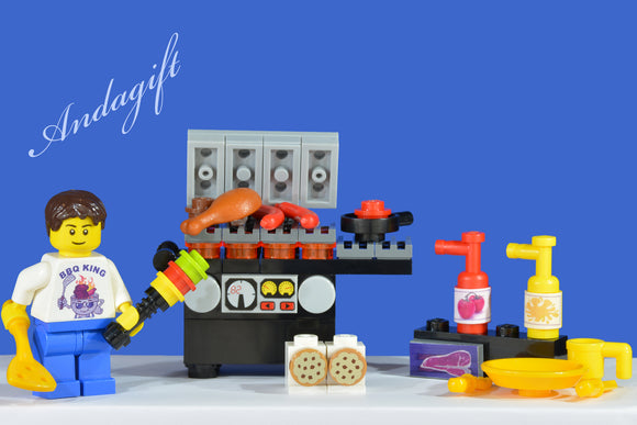 LEGO large BBQ  with custom lego minifigure and food and tools - andagift