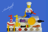 LEGO food chef minifigure with  food and tools - andagift