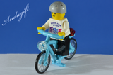 LEGO blue azure bicycle with custom minifigure - andagift
