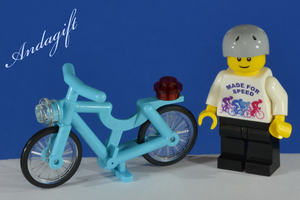LEGO white bicycle with custom minifigure - andagift