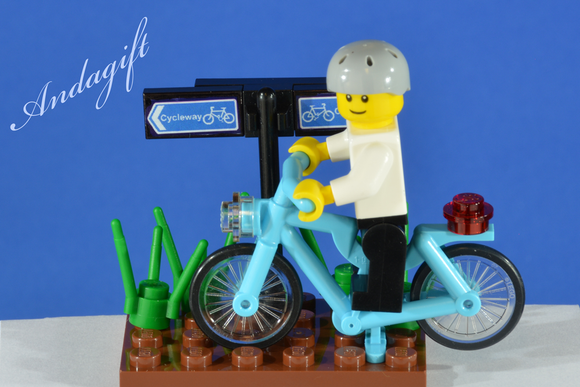 LEGO blue (azure) bicycle, cycling scene with custom designed lego character - andagift