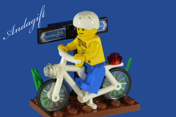 LEGO white bicycle white cycling scene with custom designed lego character - andagift