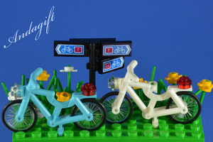 LEGO bicycle white and blue cycling scene custom set with white and blue bikes - andagift