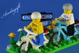 LEGO bicycles white bike blue / azure bikes cycle bicycle with minifigures - andagift