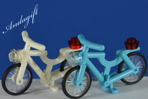 LEGO bicycles  white and blue azure with lights - andagift