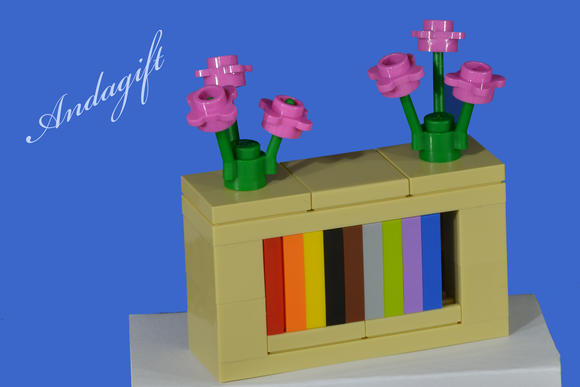 LEGO bookcase shelves with pink flowers and instructions - andagift