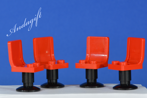 Complete Set of 8 Red lego Chairs with black Pedestals - andagift