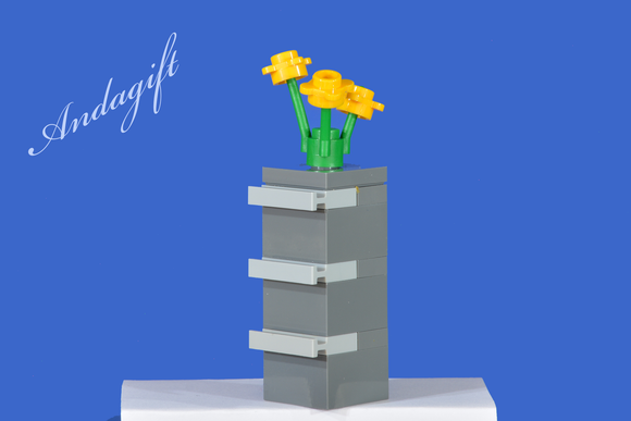 LEGO filing cabinet grey with yellow flowers and instructions - andagift