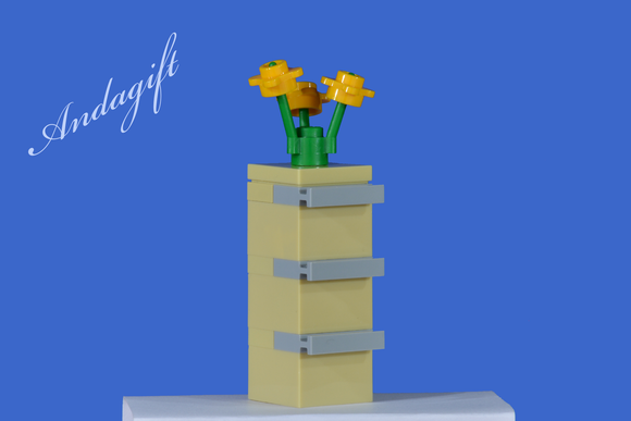 LEGO filing cabinet tan with yellow flowers and instructions - andagift