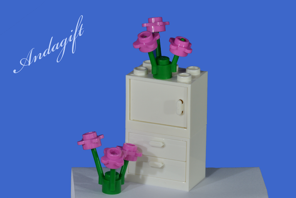 LEGO tall white cupboard with white door and 2 white drawers suitable for bedroom kitchen, office - andagift