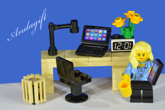 LEGO desk with laptop, mobile phone, chair, bin, minifigure - andagift