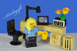 LEGO desk with tablet, mobile phone, chair, bin, minifigure - andagift