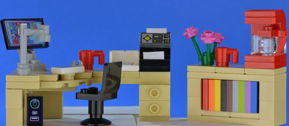 LEGO office corner desk set computer and printer, bookcase red coffee machine - andagift