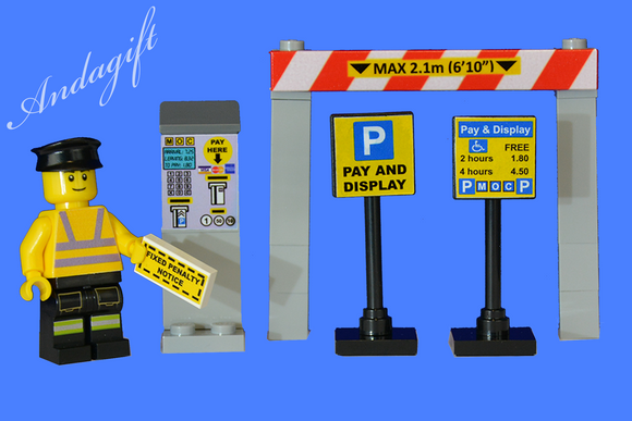 Lego car parking meters pay and display car park set with traffic warden - andagift