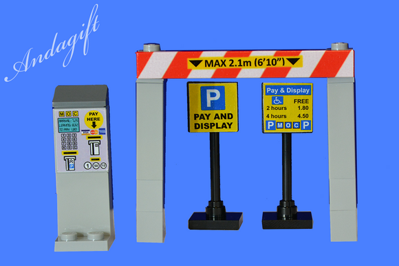 Lego car parking meters pay and display car park set road signs - andagift
