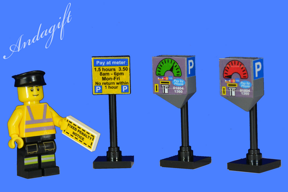LEGO car parking meters with traffic warden - andagift