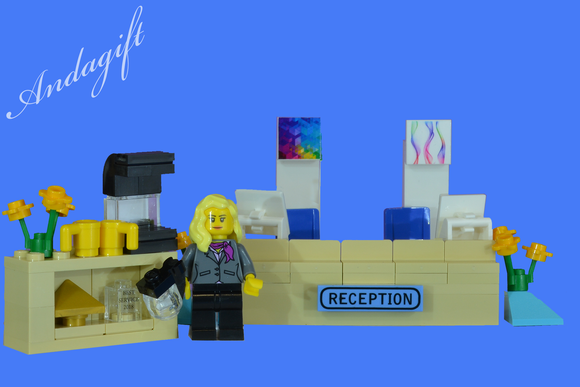 LEGO reception desk office with lego minifigure - andagift
