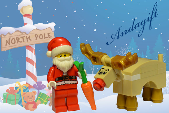 LEGO SANTA and REINDEER Father Christmas and Rudolph and carrot lego food - andagift