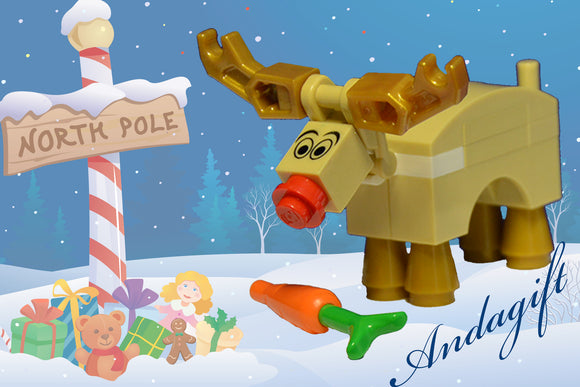 LEGO SANTA's REINDEER Rudolph and carrot lego food great stocking filler - andagift