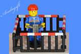 LEGO road workman roadworks with cones fence signs tools broom shovel hammer - andagift